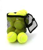 Bag o' balls. Bag of tennis balls isolated on white Stock Photos