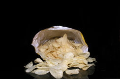 Bag O' Chips. Looking into an open bag of potatoe chips Royalty Free Stock Images
