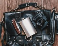 Bag with objects for travel. stock photos