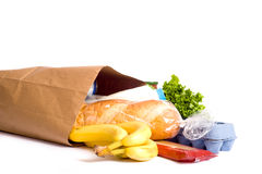 Bag Of Groceries On WHite Royalty Free Stock Photos