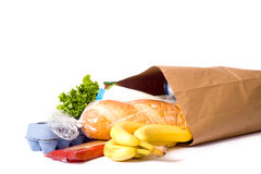 Bag Of Groceries On WHite Royalty Free Stock Photography