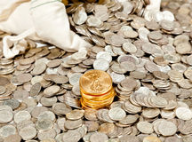 Bag Of Silver And Gold Coins Royalty Free Stock Photography