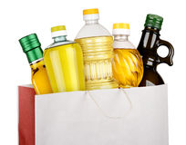 Bag of oil bottles Stock Image