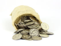 Bag of old silver bullion Stock Photography