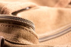 Bag with open zipper Royalty Free Stock Image