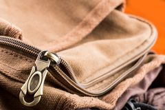 Bag with open zipper Royalty Free Stock Images