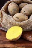 Bag of organic potatoes Stock Images