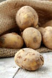 Bag of organic potatoes Royalty Free Stock Photo