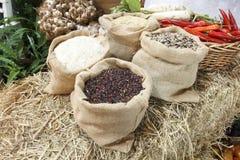 Bag of organic rice Stock Photography