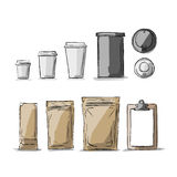 Bag packaging and take away coffee cups Royalty Free Stock Image
