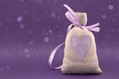 Bag with a painted heart on the shiny background Stock Photography