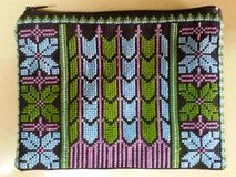 Bag with Palestinian embroidery - blue green  purp Stock Photo