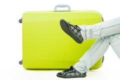 Bag and passengers legs Royalty Free Stock Images