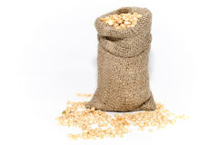 Bag of pea grains. Peas. Royalty Free Stock Photos