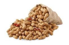 Bag of the peanuts. On white background Stock Image