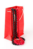 Bag with pearls isolated Stock Image