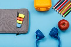 Bag-pencil case with color felt pens and marker, lunch box, colo. School supplies. Bag-pencil case with color felt pens and marker, lunch box, color pencils stock images