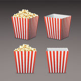 Bag of popcorn. Vector set of white and red striped paper popcorn bag in perspective, front view on gray background royalty free illustration