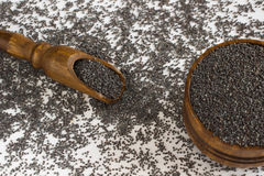 Bag with poppy seeds and scoop Royalty Free Stock Photos