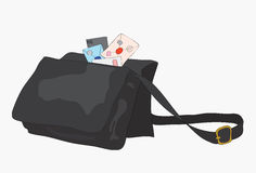 Bag of the postman with letters. Royalty Free Stock Photography