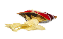 Bag of potato crisps. Background bag crisps food junk life potato salt several small snacks still studio useless white, food Royalty Free Stock Images