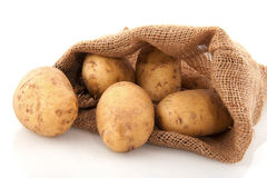 Bag potatoes Royalty Free Stock Photo