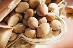Bag of potatoes. On mirror royalty free stock photos
