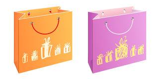 Bag with presents. A set of two bags with water-colour painting Royalty Free Stock Images