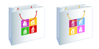 Bag with presents 2. A set of two bags with water-colour painting Royalty Free Stock Photo