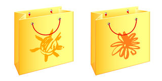 Bag with presents 3. A set of two bags with water-colour painting Royalty Free Stock Image