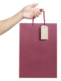 Bag with a price tag Royalty Free Stock Photos