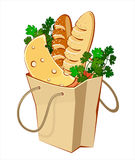 Bag products. Paper bags with bread, cheese and greengrocery vector illustration
