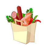 Bag with products. Paper bag with sausage, pepper and greengrocery royalty free illustration