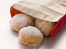 Bag Of Raspberry Jam Doughnuts Stock Image