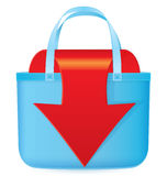 Bag with red arrow coming out Royalty Free Stock Photo