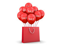 Bag. Red Baloons Discounts and bag 3d rendering Stock Image