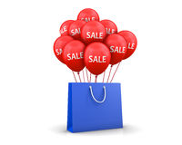 Bag. Red Baloons Discounts and bag 3d rendering Stock Photo