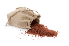 Bag with red rice Stock Photography