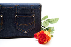 Bag with red rose Royalty Free Stock Photos