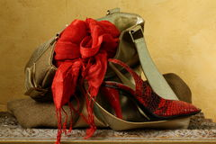 Bag with a red scarf and shoes Stock Photo