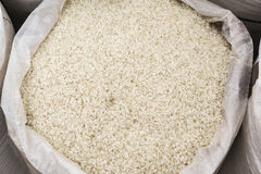 Bag of rice. Bag of raw rice on open market Royalty Free Stock Photography