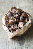 Bag of roast sweet chestnuts on a wooden background Royalty Free Stock Image