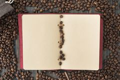 A bag of roasted arabica coffee beans and a light paper note. On a dark wooden background top view Stock Photography