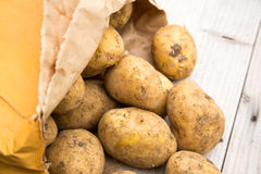 Bag of Rustic Potatoes Royalty Free Stock Photos