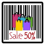 Bag, Sale 50%, 50 percent discount. Illustration stock illustration