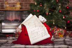 Bag of Santa Claus with gifts Stock Photography