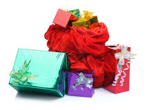 Bag of Santa Claus with gifts on white Royalty Free Stock Image
