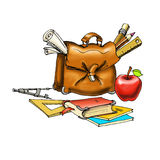 Bag school, apple, books, pencils notebook lineup,  Stock Photo
