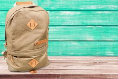 Bag. School rucksack beige brown school backpack royalty free stock image