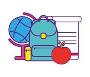 Bag school with set icons. Vector illustration design vector illustration